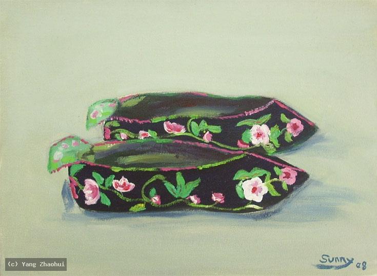 Artist Yang Zhaohui, Yang Zhaohui artwork, China contemporary art, original artwork, original painting, Chinese robe, still life : Chinese embroidered shoes No.1