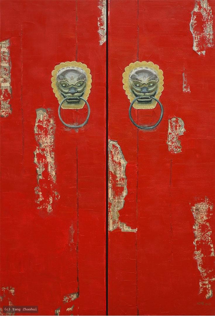 Artist Yang Zhaohui, Yang Zhaohui artwork, China contemporary art, original artwork, original painting, Chinese robe, still life : Chinese door No.6
