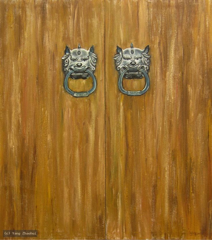Artist Yang Zhaohui, Yang Zhaohui artwork, China contemporary art, original artwork, original painting, Chinese robe, still life : Chinese door No.9