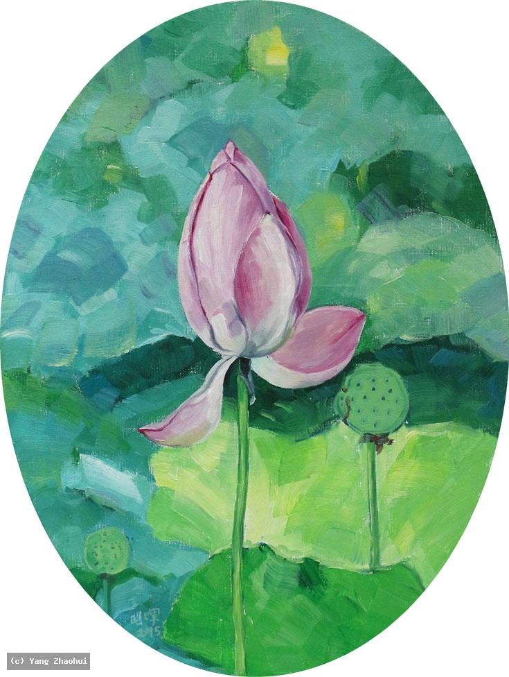Artist Yang Zhaohui, Yang Zhaohui artwork, China contemporary art, original artwork, original painting, Chinese robe, still life : water lily No.1