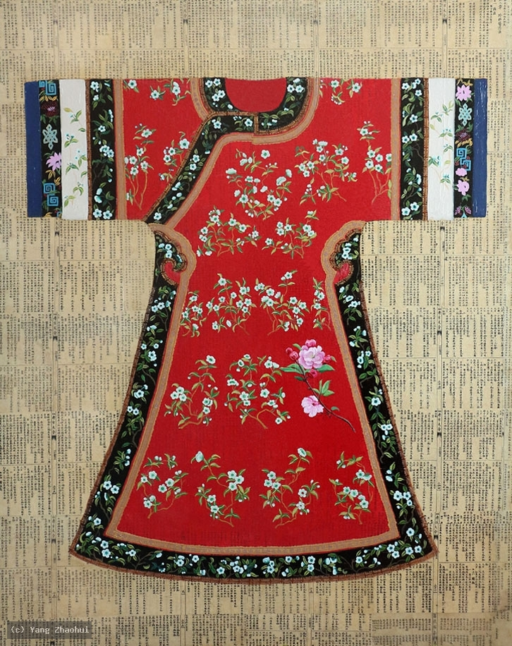 Artist Yang Zhaohui, Yang Zhaohui artwork, China contemporary art, original artwork, original painting, Chinese robe, still life : Chinese robe No.56