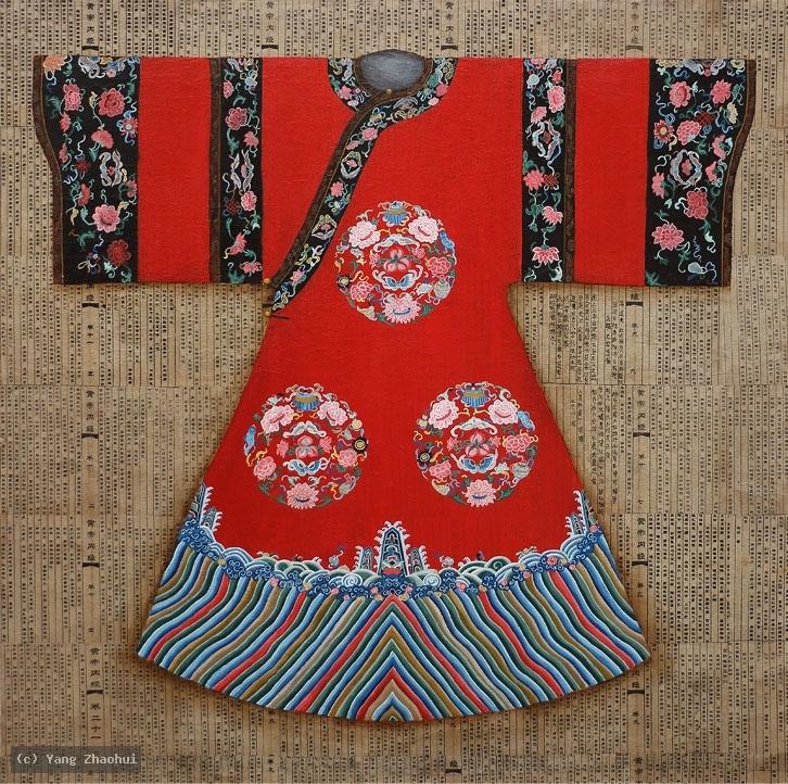 Artist Yang Zhaohui, Yang Zhaohui artwork, China contemporary art, original artwork, original painting, Chinese robe, still life : Happy Meeting
